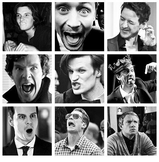 What makes a man sexy: the confidence to look silly. (Ben Barnes, Tom Hiddleston, James McAvoy, Benedict Cumberbatch, Matt Smith, David Tennant, Andrew Scott, Chris Evans, and Martin Freeman)
