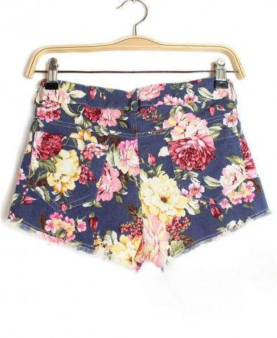 Rural Floral Pattern Denim Shorts - Clothing