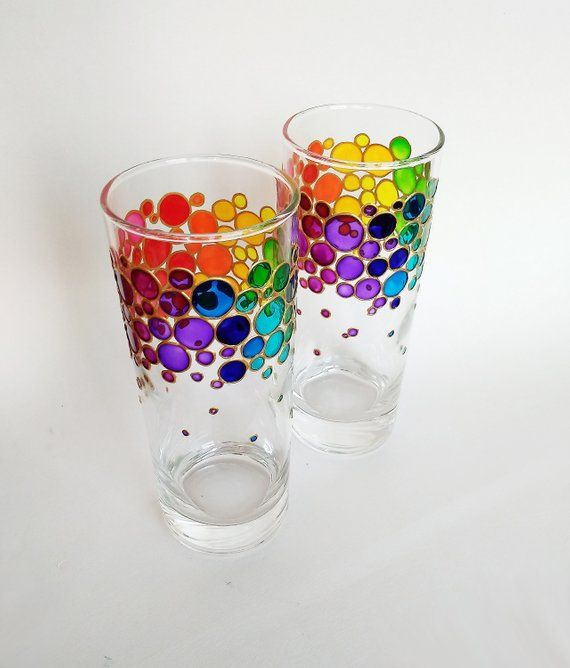 Rainbow Drinking Glasses Set Of 2 Couple Colorful Water Glasses Painted Glass Tumblers Rainbow Bubbles Glasses Set Rainbow Drinking Glasses Colored Tumblers Rainbow Bubbles