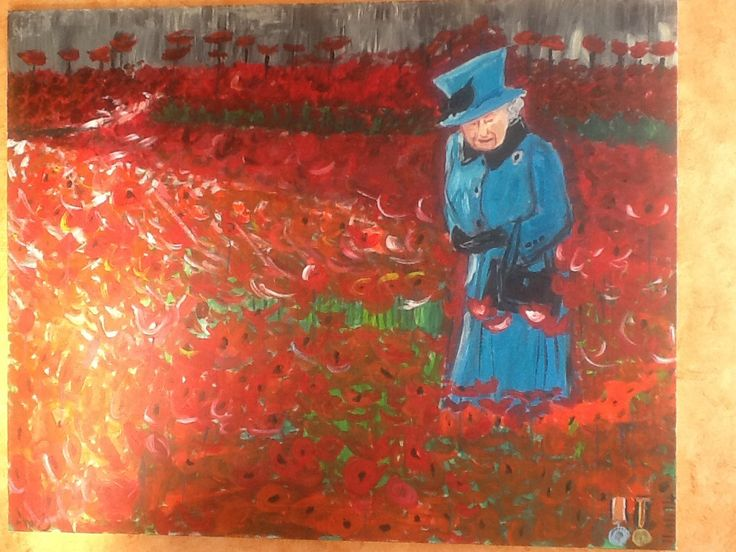 Blue coat in the poppies