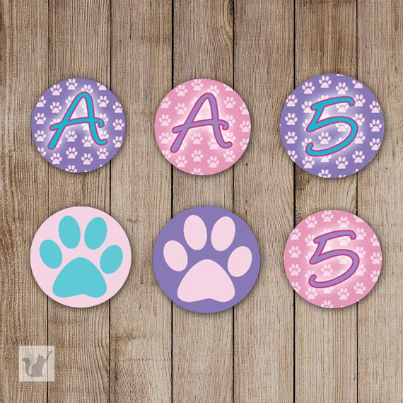 Printable Small Candy Labels - 0.75 inch Candy Stickers Birthday Favors Pink Purple Cat Dog Paw Custom Party DIY Personalized Items