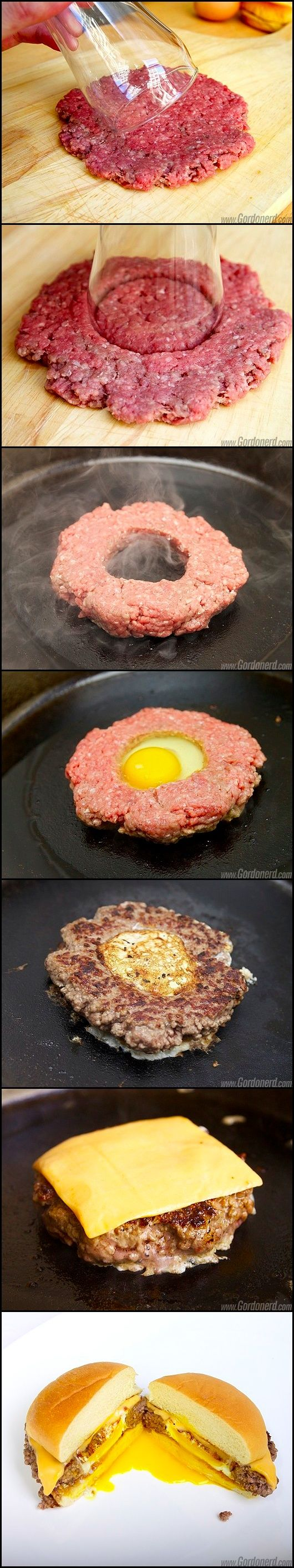 Fried egg stuffed hamburger. Leaves more room for other additions to your hamburger like BACON and or ham ;) So bad & yet So Good!