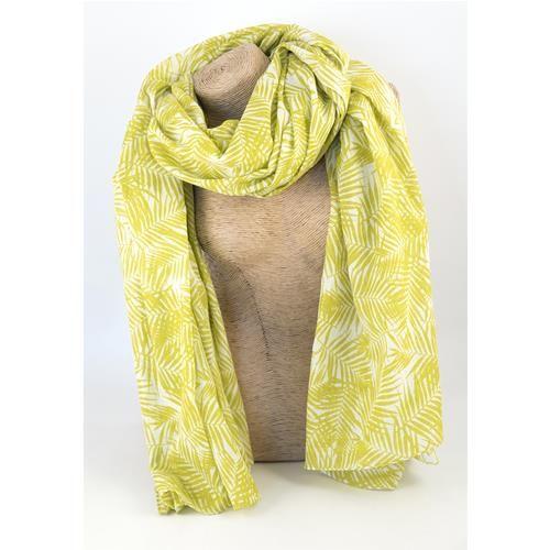 SCIARPA PAREO HAVANA GIALLO - Graziosa sciarpa pareo stampata con foglie color giallo. Composizione: 100% cotone.