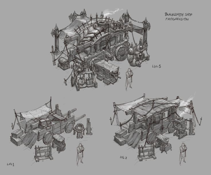D3 Blacksmith shop sketches, Peet Cooper