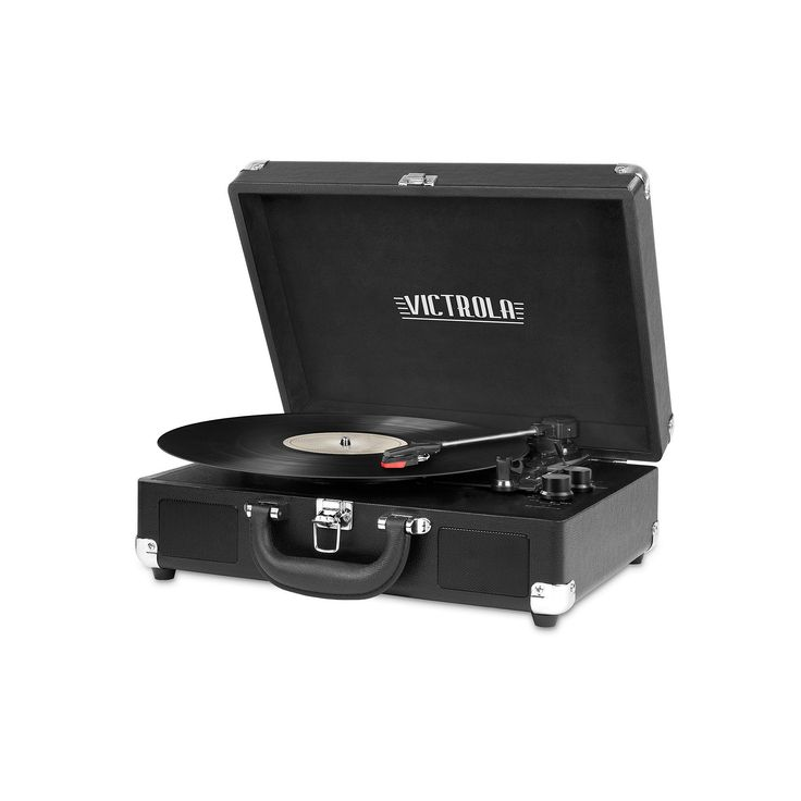 Victrola Portable Suitcase Record Player with Bluetooth, Black