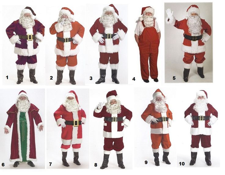 Santa Suits: we have them in all makes, models, sizes and prices.  Click the image to go to our website for descriptions, prices and availability.  All costumes are for sale or rent unless otherwise noted.  We ship worldwide, Monday through Saturday.