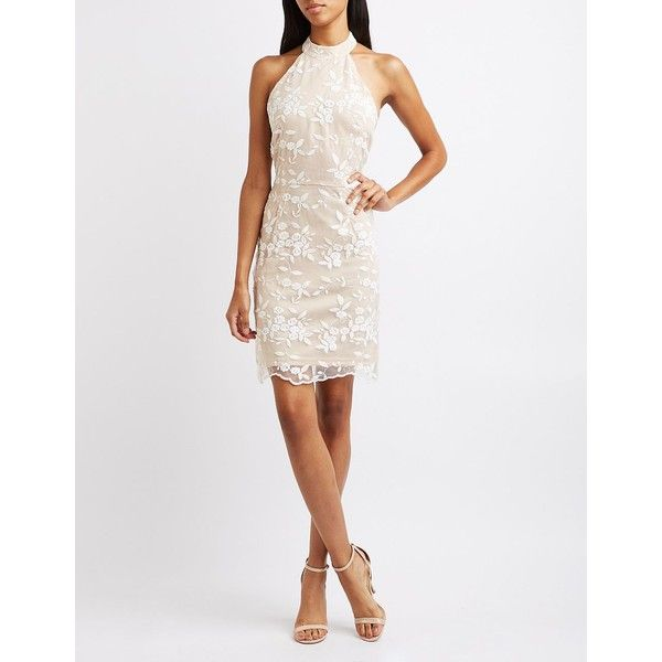 Charlotte Russe Embroidered Mesh Halter Dress ($30) ❤ liked on Polyvore featuring dresses, ivory combo, white halter top, halter dress, white evening dresses, white shift dress and evening dresses