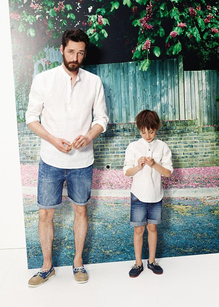 Slim-fit mao collar linen shirt - Shirt - Men - H.E. BY MANGO