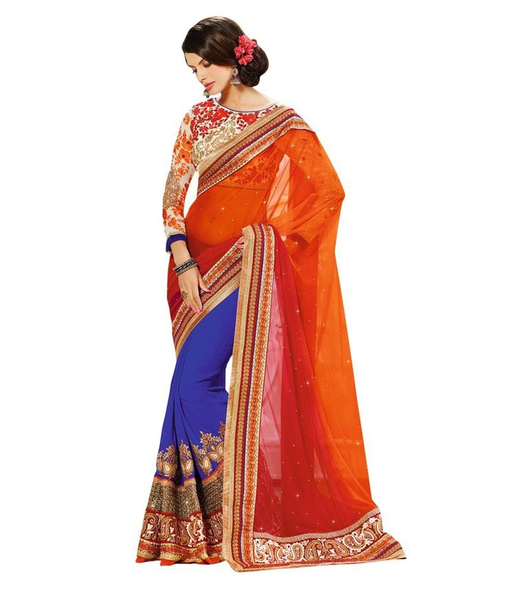 Palash Zemi Designer Half Orange Net Ethnic Party Wear Saree With Blouse Piece, http://www.snapdeal.com/product/palash-zemi-designer-half-orange/11565625