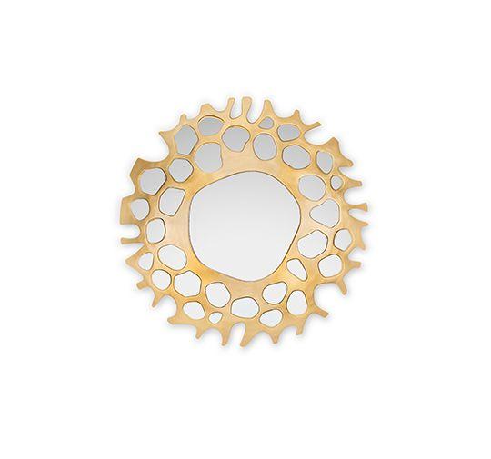 HELIOS | Golden Leaf Mirror by BRABBU // Round Mirror. Decorative Mirror. #mirror #roundmirror #interiordesign Find more at: http://www.brabbu.com/product/casegoods/helios-mirror
