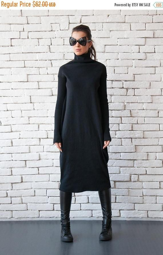 Long Loose Dress/Black Maxi Dress/Long Sleeve Oversize Tunic/Casual Black Dress/Long Polo Dress/Comfortable Black Kaftan/Plus Size Dress
