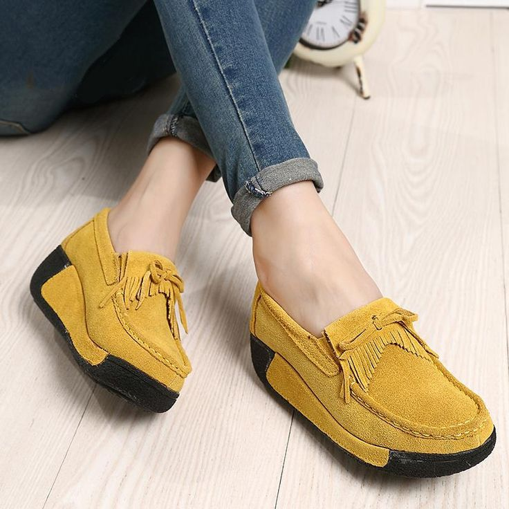 2016 spring women genuine leather suede ankle boots creeper shoes women platform wedge women casual shoes zapatos mujer 1319 #>=#>=#>=#>=#> Click on the pin to check out discount price, color, size, shipping, etc. Save and like it!