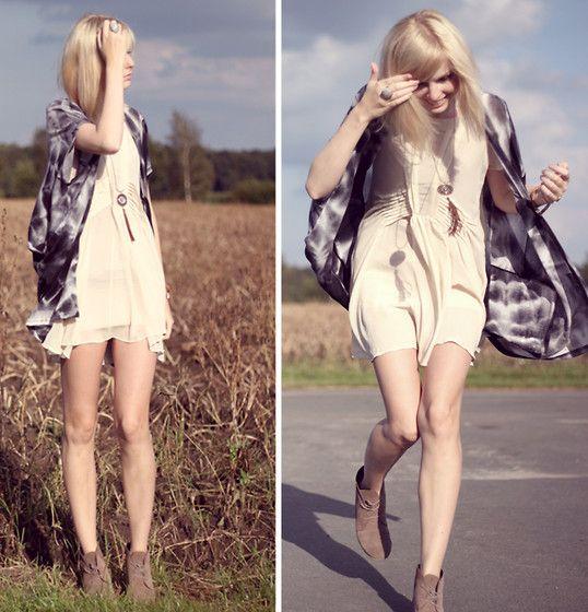 Jeane Blush Dress, Cardigan, Zign Shoes