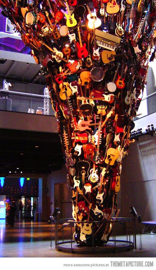 The Guitar Tornado:  This sculpture is in the entrance to Paul Allen's Experience Music Project, which is right next to the Space Needle in Seattle.