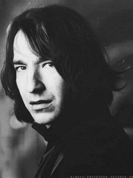 alan rickman: having Snape's hair when he was much younger. This is a good photo manipulation. I never assumed that Snape was that pretty though.