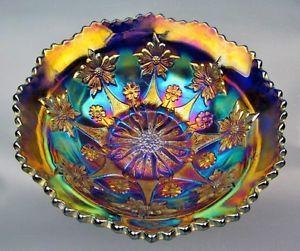 **RARE** bol VERRE CARNAVAL ANTIQUE bleu/violet -FENTON- floral Laval / North Shore Greater Montréal image 1