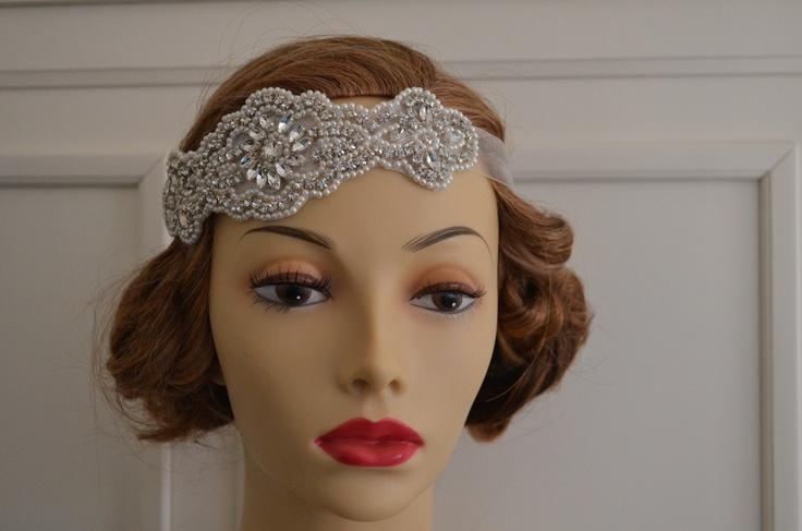 Vintage Headpiece, Rhinestones, beading and Pearls, Headband, Flapper, 1920s,1930s,Style C026. yanethandco - etsy