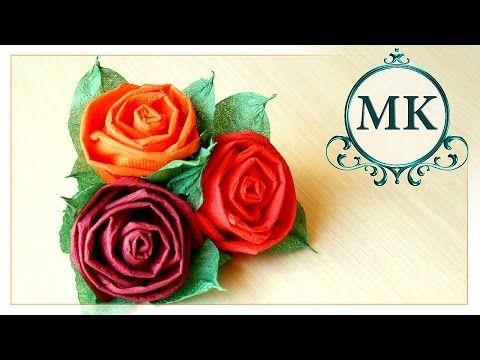 Роза из салфеток. Роза для топиария. Мастер-класс /Rose napkins. Rose for the topiary. Master class - YouTube