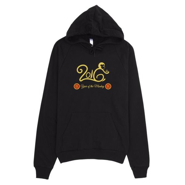 Year of the Monkey, Gold and Red, Women's Hoodie, This American Apparel hoodie is made out of California fleece which, opposed to typical synthetic fleece, is made of 100% extra soft ring-spun combed cotton. It's pre-washed to minimize shrinkage, and is breathable yet extra thick for warmth.