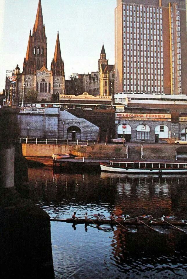 St Pauls Cathedral, Gas & Fuel towers on the right circa 1969 Photo source-Ampol touring Atlas of Australia Lost Melbourne fb page