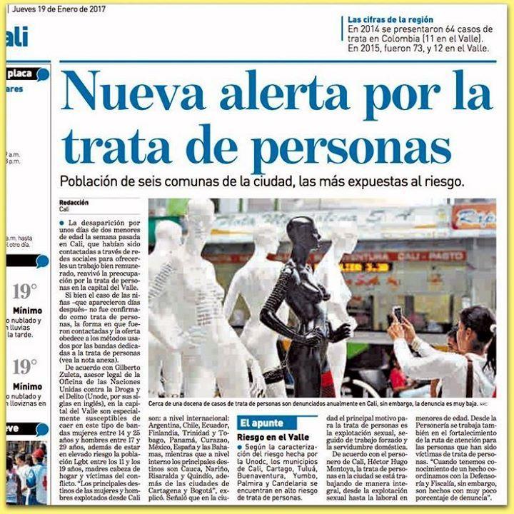 """[Prensa - ADN Cali] Nueva alerta por la trata de personas"""" #Calico"""