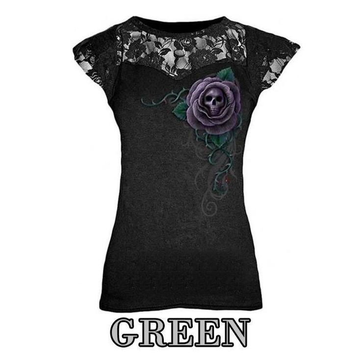 Summer Punk Style Lace Patchwork Women T-Shirt Skull Printing Sexy O-Neck Black Top Cap Sleeveless Shirt Tee Top LJ8404E