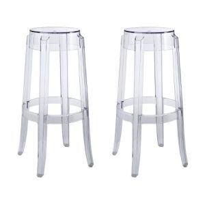 LexMod Casper Counter Stool (two):  This stool gives you two for the price of one. These gorgeous sleek stools offer a design that is almost ghostly. It's the kind of stool for someone who isn't looking to make a statement but just wants something modern and simple to add to their room. The classic design is perfect for a counter area and will fit in just nicely. This particular design is lightweight acrylic that can be moved from place to place easily. It's affordable enough th