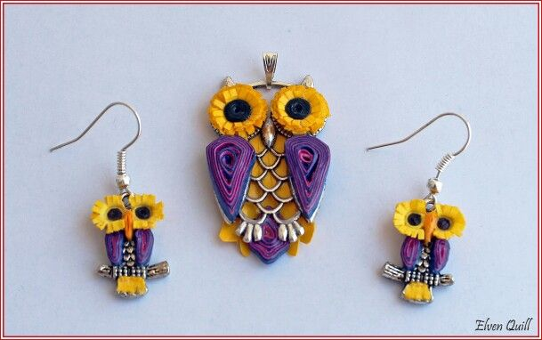 Owls set (pandant and earrings) - quilling by Elven Quill www.facebook.com/elven.quill