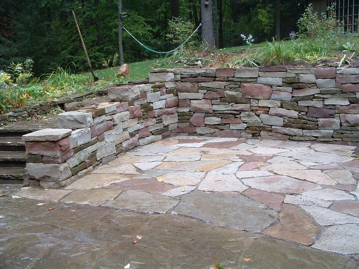 Patio Designs Among Retaining Walls Matched With Stone