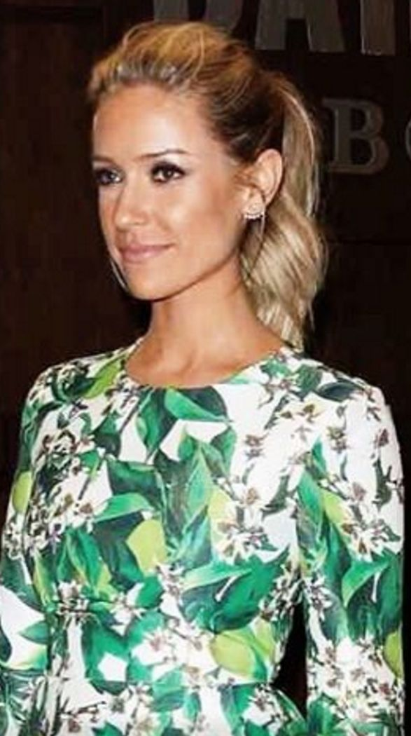 Who made Kristin Cavallari's green floral print dress and jewelry?