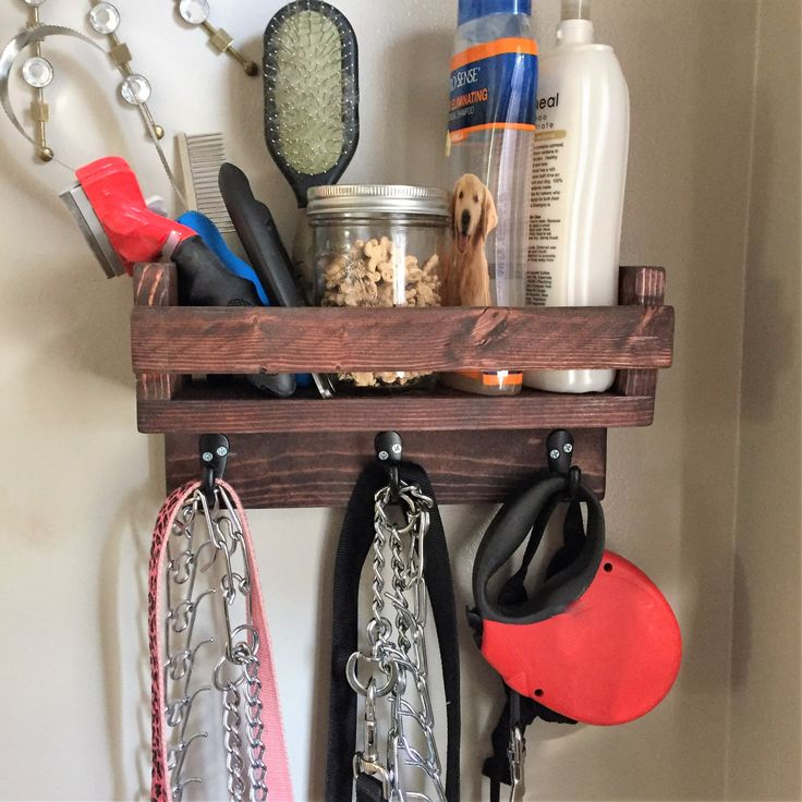 Dog Storage Shelf, Leash Holder, Christmas, Pets, puppy, animal lover, gift for pet owner, leash hook, collar, chain, treats, brush, storage by NewLoveDecor on Etsy