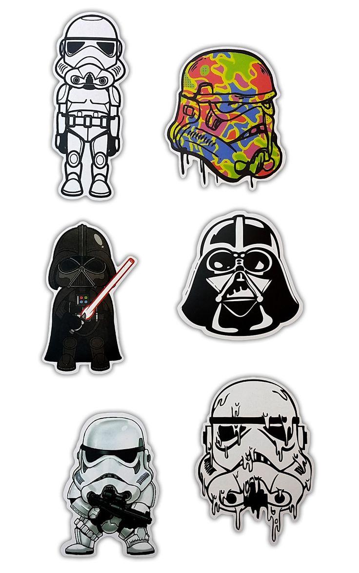 Stars Wars Darth Vader Skateboard Stickers - Set of 6 Stickers