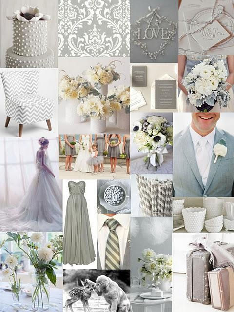 Grey & White Wedding Colors :) Love it with greens and teals for flowers!!