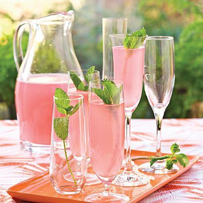 Sparkling Punch ~ 1 (12-oz.) can frozen Pink Lemonade Concentrate, thawed, 4 cups White Cranberry Juice Cocktail, 1 qt. Club Soda, chilled, Garnish: fresh Mint Sprigs