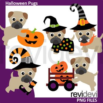 Halloween pugs clip art. Cute puppy with witch hat, also puppy with jack o lantern. Fun collection of pug dog clipart. Great resource for any school and classroom projects such as for creating bulletin board, printable, worksheet, classroom decor, craft materials, activities and games, and for