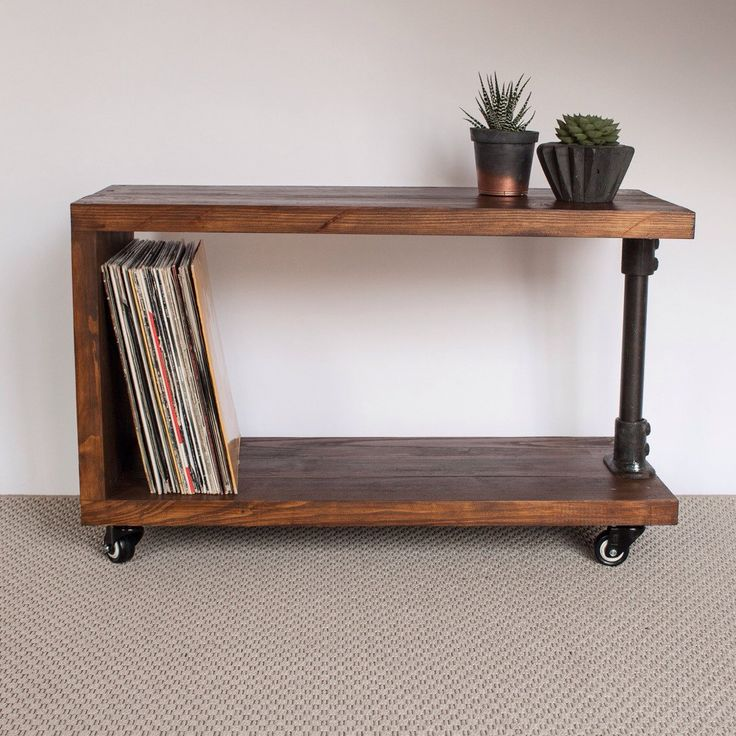 panorama reclaimed wood record player stand tv cabinet vinyl storage console handmade dark oak gas pipe furniture iron