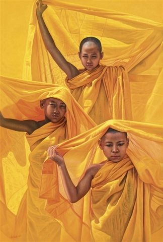 Novice monks painting by Aung Kyaw Htet