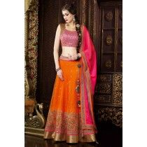 Orange #exclusive #Indian #Punjabi #lehenga choli in #net
