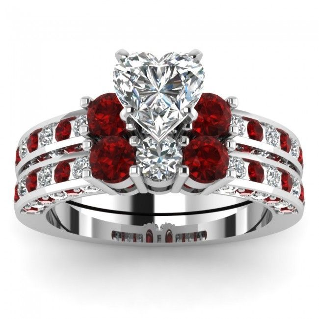 Heart Shaped Diamond Bridal Wedding Ring Set With Red Ruby Side Stones #Engagementring #Evolees www.evolees.com