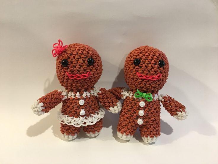 Gingerbread Man/Girl Rubber Band Figure, Rainbow Loom Loomigurumi, Rainbow Loom Holiday by BBLNCreations on Etsy Loomigurumi Amigurumi Rainbow Loom