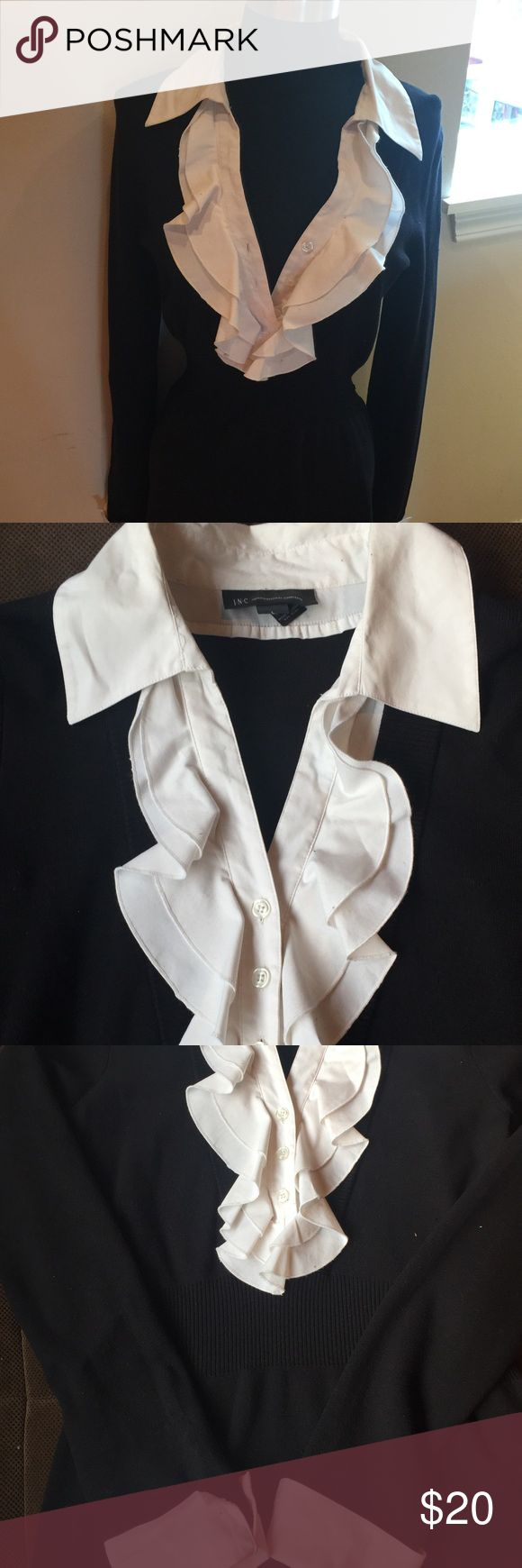 Adorable dress Black, stretch material with gorgeous white ruffled neckline and white folded sleeves. Flattering and looks great with heels or boots. INC International Concepts Dresses Midi