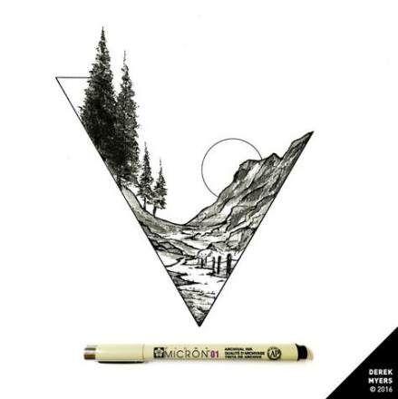 23+ Ideas Tattoo Geometric Mountain Etsy For 2019