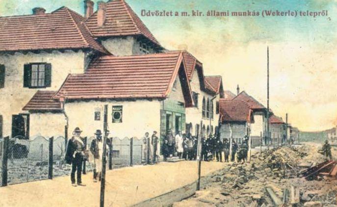 Az épülõfélben lévõ kispesti állami munkástelep. (Képeslap,1910 körül)