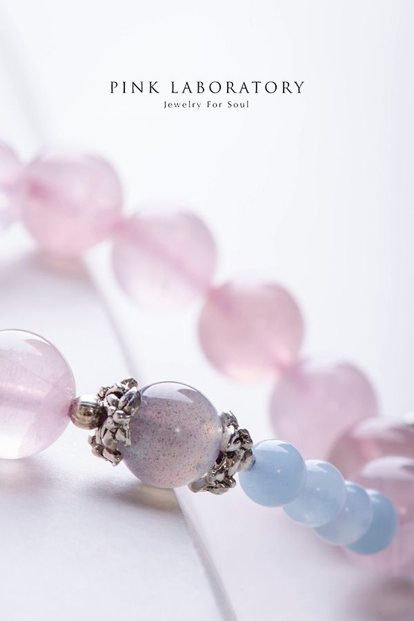 Genuine Rose Quartz Bracelet Aquamarine Jewelry Pink Crystal Healing