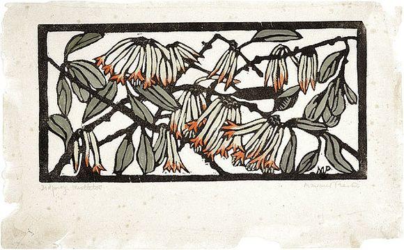 Artist: PRESTON, Margaret | Title: Mistletoe | Date: 1930 | Technique: woodcut, printed in black ink, from one block; hand-coloured | Copyright: © Margaret Preston. Licensed by VISCOPY, Australia