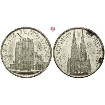 Köln, Stadt, Zinnmedaille 1842, f.vz: Zinn-Zinnmedaille 1842. von C. Rabausch, auf die zweite Grundsteinlegung des Kölner Doms.… #coins