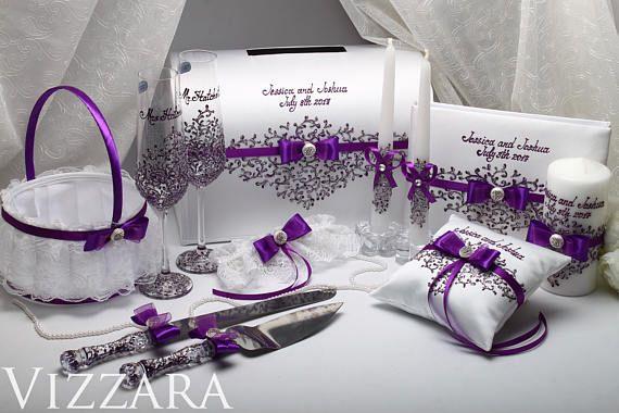 ring kussen plum bruiloft paarse aan toonder kussen zilveren