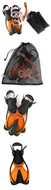 Snorkels and Sets 71162: Junior Snorkeling Scuba Diving Mask Dry Snorkel Fins Set For Kids-Orange-Smmd -> BUY IT NOW ONLY: $48.89 on eBay!