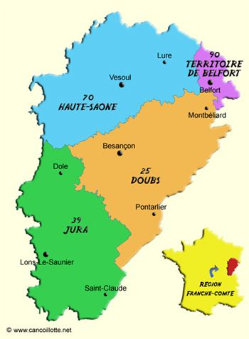 Le Jura prefecture, France - Google Search 緑がジュラ県、全体がひとつの洲。フランシュ=コンテ、洲といったり、地域圏といったりするらしい。