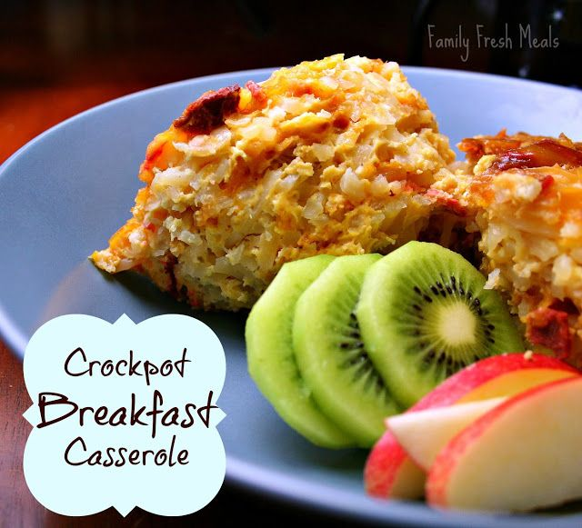 Make your crockpot slave all night and wake up to this delicious Crockpot Breakfast Casserole recipe. Perfect for Christmas morning breakfas...